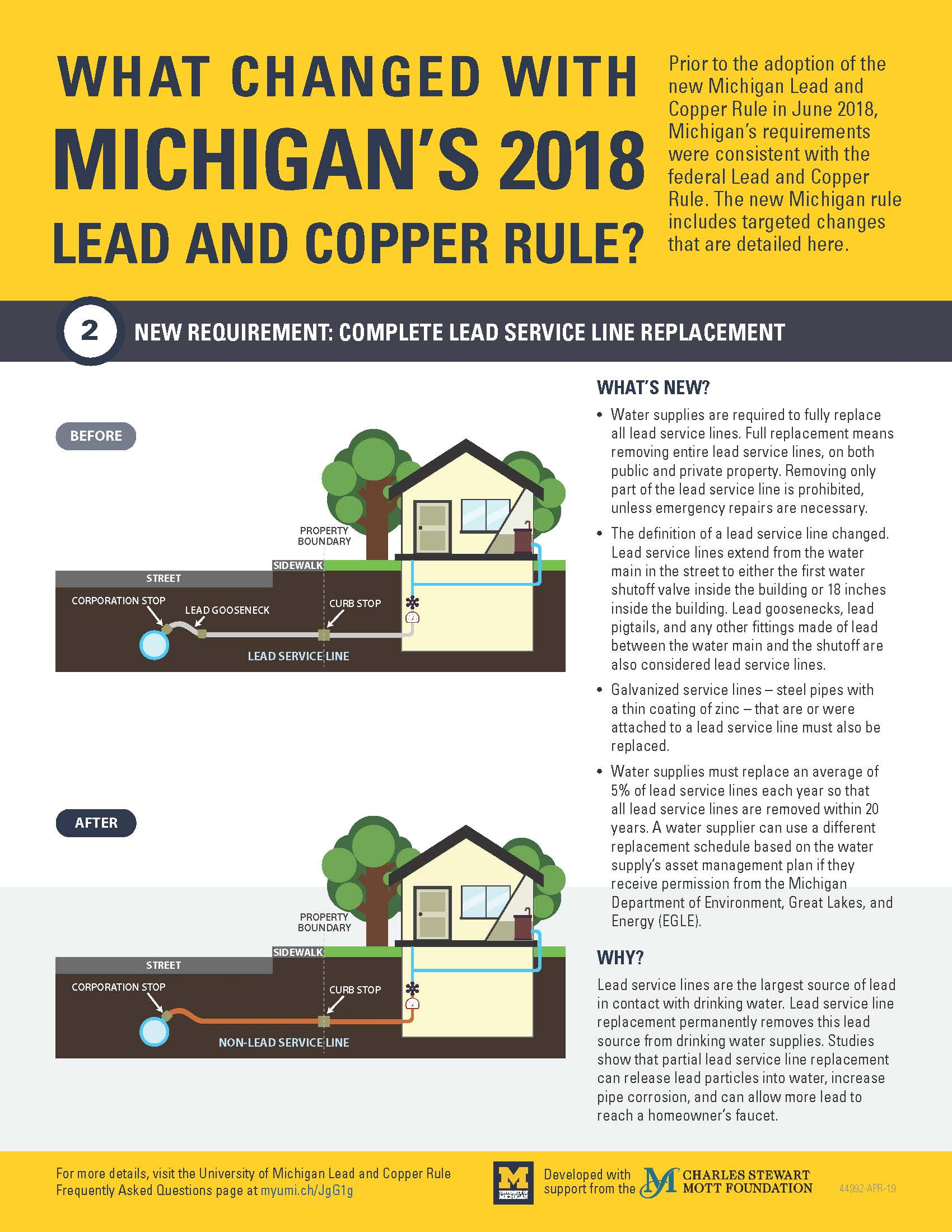 Infographic displaying information on Michigan's Lead and Copper Rule