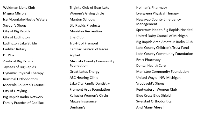 List of businesses we want to thank.